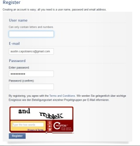 Fill out your information and create an account